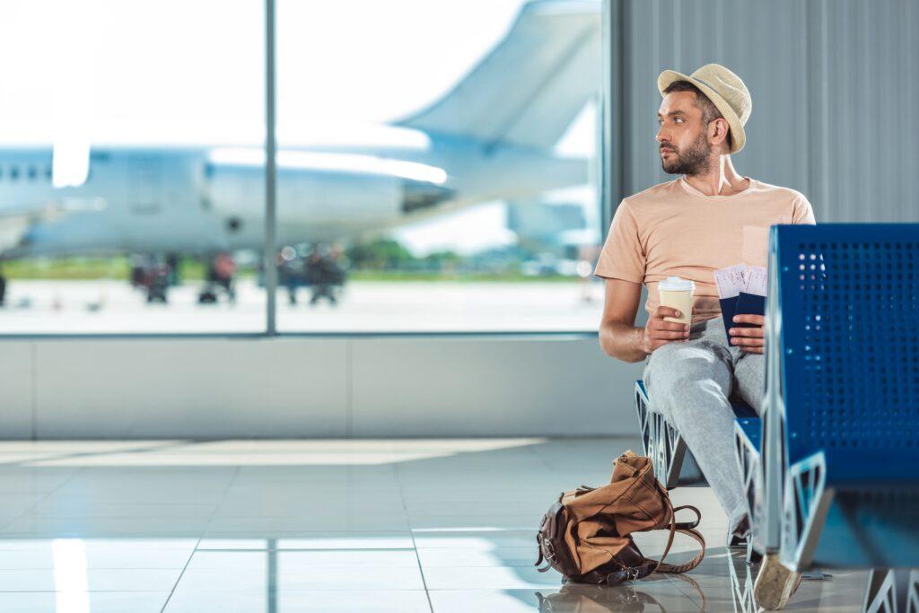 Rustig wachten op vlucht